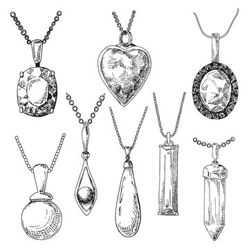 Hand drawn a set of different jewelry. Vector illustration of a sketch style.