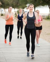 Acrylic Prints Dance School Young women during racewalking training