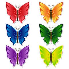 Butterflies stickers set