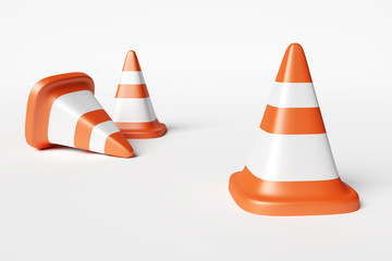 Road signal orange cone photo realistic 3d rendering object on white background