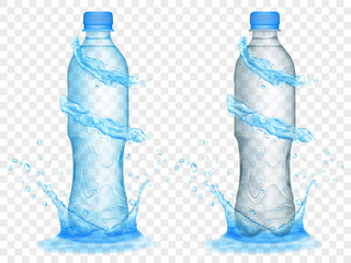 Two translucent plastic bottles in light blue and gray colors with water crowns and splashes, isolated on transparent background. Transparency only in vector format
