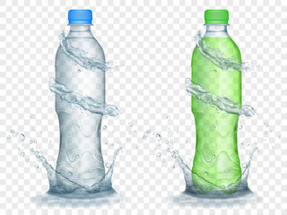 Two translucent plastic bottles in gray and green colors with water crowns and splashes, isolated on transparent background. Transparency only in vector format