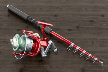 Fishing rod with spinning reel on the wooden table, 3D rendering