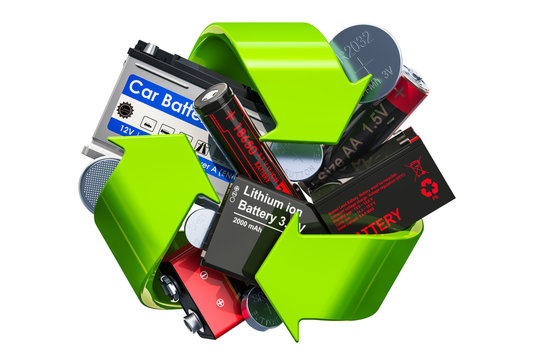 Green recycle symbol with batteries, 3D rendering