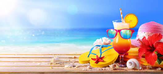 Beach Concept - Tequila Sunrise Cocktail With Summer Accessories
