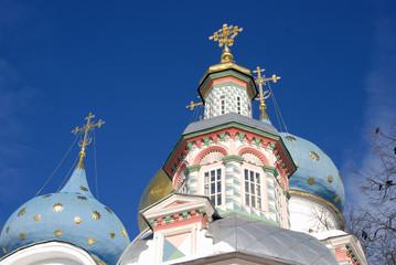 Architecture of Trinity Sergius Lavra, Sergiyev Posad, Moscow region, Russia. Color photo.