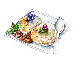 Hand drawn ice-cream vector watercolor illustration