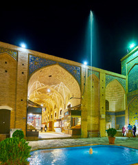 The Bazaar alley behind the fountain, Kerman, Iran