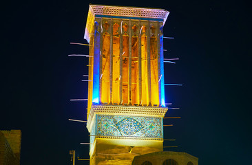 The medieval windcatcher in Kerman, Iran