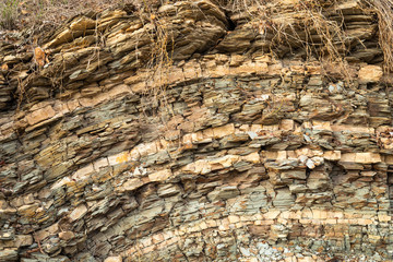 Many layers of shale near old river