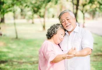 senior Asian couple dancing in the park