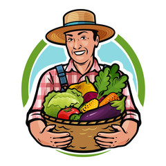 Happy farmer holding a basket full of fresh vegetables. Farm, agriculture, horticulture concept. Cartoon vector illustration