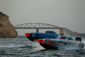 Chaudron powerboats take part in a display during the Valletta Pageant of the Seas festival in Valletta's Grand Harbour