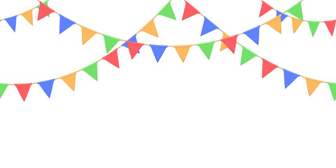 Seamless garland with celebration flags chain, yellow, blue, red, green pennons on white background, footer and banner for decoration