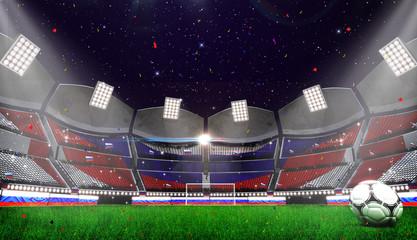 3d rendring of stadium background. Football Arena. egypt flag