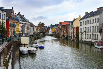 Winter in medieval Belgian city Ghent decorated for Christmas - one of the most attractive touristic places in Europe