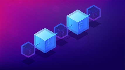 Isometric blockchain network architecture concept. Computer network, global decentralized system of data transfer illustration on ultra violet background. Vector 3d isometric illustration.