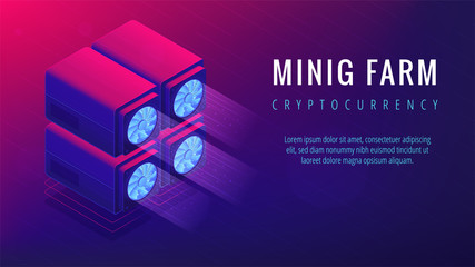 Isometric mining farm landing page concept. Blockchain server mining farm, cryptocurrency mining concept. Processing units on ultra violet background. Vector 3d isometric illustration.