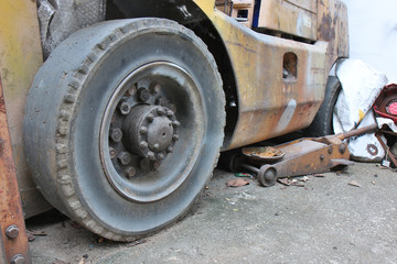 Old useless of tires of old forklift truck