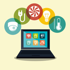 laptop controlling smarthome technology vector illustration design