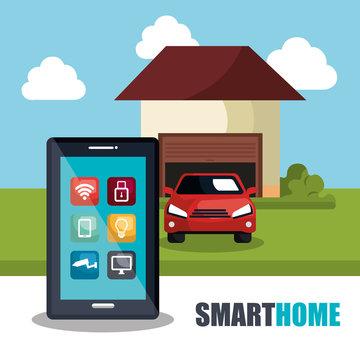smartphone controlling smart home vector illustration design