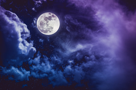 Night sky with bright full moon and cloudy, serenity nature background.