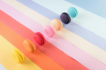 Colorful macarons or macaroons dessert sweet beautiful to eat