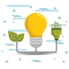 bulb energy ecology icons vector illustration design