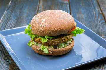 Vegetarian Burger with falafel