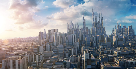 3D rendering futuristic concept city landscape skyline . Wall mural