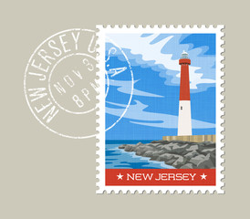 New Jersey  postage stamp design. Vector illustration of historic lighthouse on the Atlantic coast. Grunge postmark on separate layer.