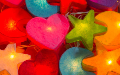 Beautiful colorful lighting are star and heart shaped.