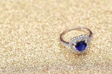 ring blue gemstone heart,Love Valentine day