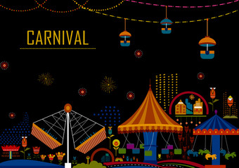 Colorful poster of fun filled Carnival festival template background