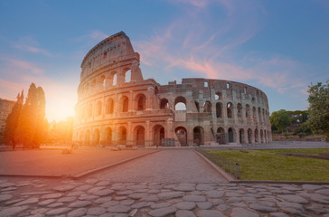 Colosseum amphitheater at surise - Rome, Italy