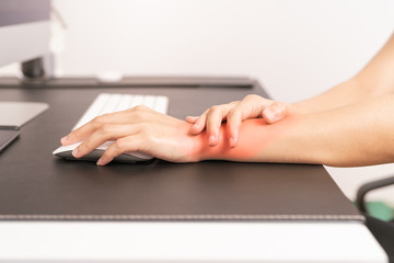 woman wrist hand arm pain long use mouse working. office syndrome healthcare and medicine concept