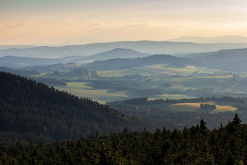 Amazing view from kravi mountains to hill on sunset, Czech landscape