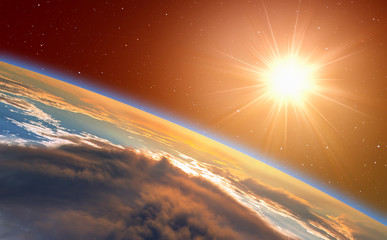 "Planet Earth with a spectacular sunset. .""Elements of this image furnished by NASA"""