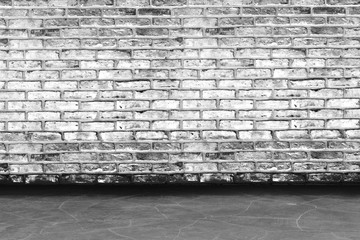 brick wall texture with concrete floor perspective for grunge empty room background concept.