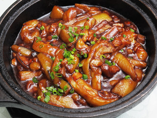 Chinese food-Stewed eggplants with garlic sauce in clay pot