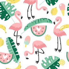 Tropical trendy seamless pattern with pink flamingo. Design for fabric, wallpaper, textile and decor.