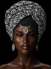 3D illustration African woman wearing headscarf