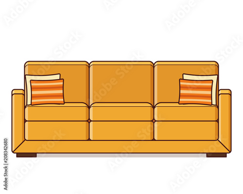 Sofa Icon Vector Couch Symbol With Cushion Linear Retro
