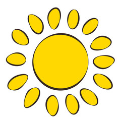 Sun, icon, children's drawing style.