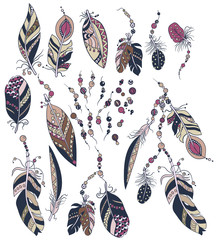 Ornamental set with decoration elements  with feathers, beads in ornamnents in graphic vector image
