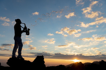 unusual beautiful day for saxophonist