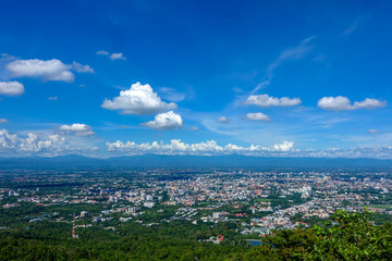 Chiang Mai, Thailand - June  8th, 2018 : View of Chiang Mai buildings in the City which taken from the  mountain view point in Chiang Mai, Thailand.