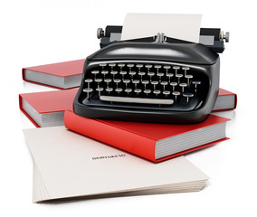 Typewriter, books and paper sheet with scenario text. 3D illustration