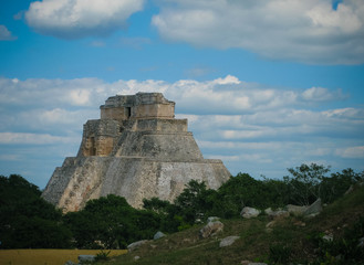 Pyramid of Magician in the old city of Uxmal, Mexico