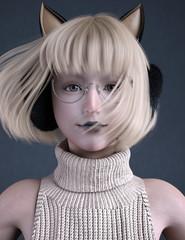 3D illustration cute girl